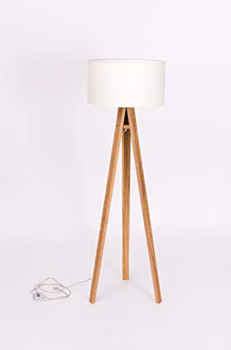 Ragaba Wanda Tripod - Lámpara de pie de madera con pantalla de tela en color blanco, estilo escandinavo, lámpara de pie estable para pasillo, dormitorio, salón, comedor: altura: 140 cm, 5 colores