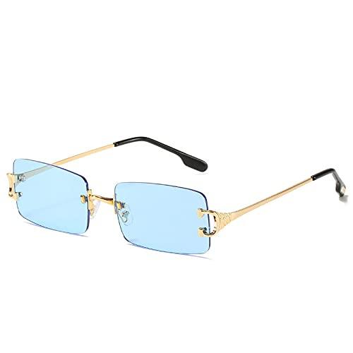 TYOLOMZ Gafas de Sol sin Montura de Moda para Mujer Gafas de Sol cuadradas UV400 Sombras Gafas Femeninas