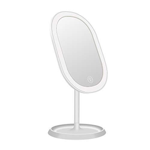 TWFY Espejo de Maquillaje con Luz Maquillaje Smart Storage Creativa del Espejo LED con Sensor de luz Maquillaje táctil Espejo Espejo de Carga USB Escritorio Libre de pie Portátil