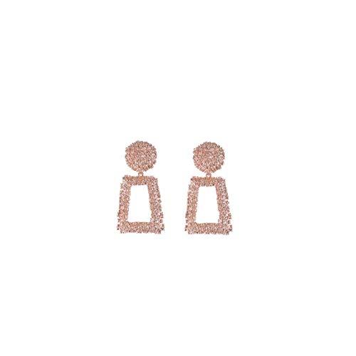 Pendientes de Las Mujeres Maxi Grande de los Pendientes Pendientes geométrica Declaración de la Boda de la joyería Femenina Bijoux 1 par - Rosa de Oro