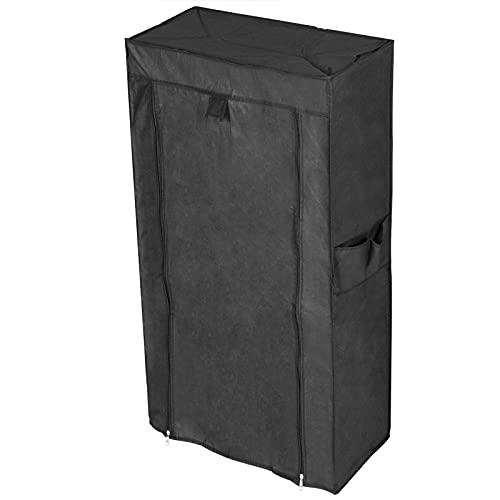 PrimeMatik - Armario ropero y Zapatero de Tela Desmontable 60 x 28 x 124 cm Negro con Puerta Enrollable