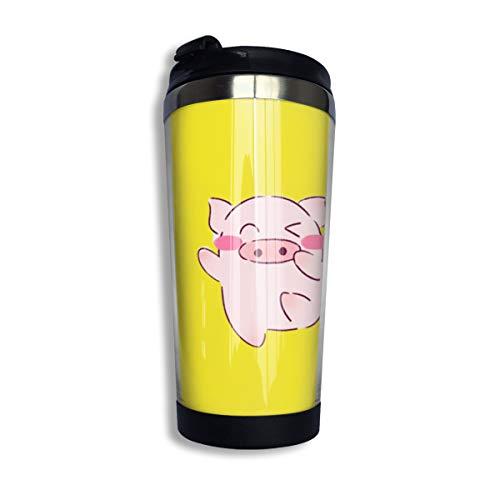 Kaffee-Reisebecher, Auto-Becher, Edelstahl-Wasserflasche, isoliert, Thermobecher, Edelstahl für Arbeit und Reisen, rosa Schwein, 304 Edelstahl + lebensmittelechtes ABS, Schwarz , Einheitsgröße