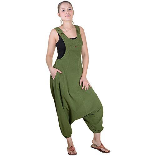 KUNST UND MAGIE Hippie Latzhose Haremshose Hose PSY Goa 70er Overall, Größe:L, Farbe:Grün