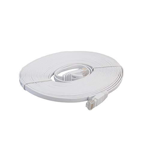 SZXCX Cable LAN de Red Ethernet Plano CAT6e, Cable de conexión de Cable Ethernet para computadora portátil de transmisión de Alta Velocidad para Oficina en casa, Blanco de 5 m