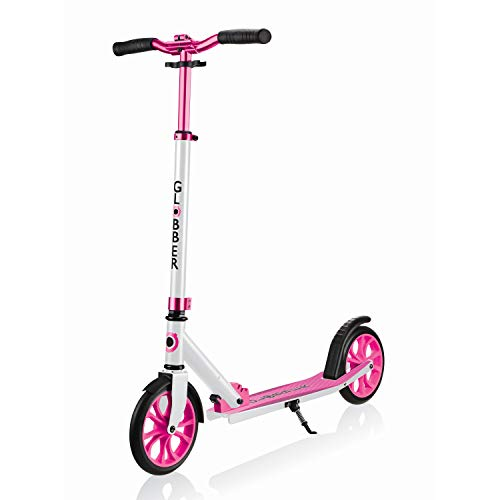 Globber NL 500-205 2-Big Wheel Quick Folding Kick Scooter - Reflective and Adjustable Height T-Bar - Comfort Handlebar Grips - for Kids 8+, Teens, and Adults - White & Pink