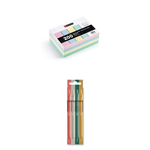 MIQUELRIUS - Flashcards Tarjetas para Estudio, Fichas para notas, Rayas Horizontales, Tamaño A6 105 x 148 mm, Colores pastel + Bolis Pastel