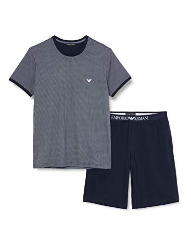 Emporio Armani Underwear Herren Loungewear - Patter Mix Pyjamas Zweiteiliger Schlafanzug, Mehrfarbig (MICRODISEGNO 65610), X-Large (Herstellergröße:XL)