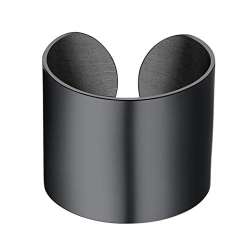 Mens Ring 17MM Wide Cuff Band Ring Big Adjustable Open Finger Ring Fits US Size 6-12(UK Size L1/2-Y) Gift for Grandfather Black Plated Unisex Jewellery Smooth-Surface Statement Ring for Men Women