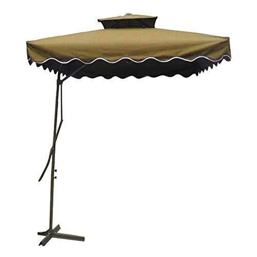 Wsaman 2,2 M Offset Roma Parasol, Double Couche Cantilever Suspendu Parapluie Solaire avec Une Base Croisée pour Extérieur/Jardin/Balcon/Patio Chaverser Tente Sun Shade,Marron