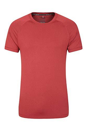 Mountain Warehouse Agra Camiseta mélange para Hombre - Ligera, cómoda, con Cuello Redondo, de Secado rápido y protección UV - para Viajar y Caminar Rojo L