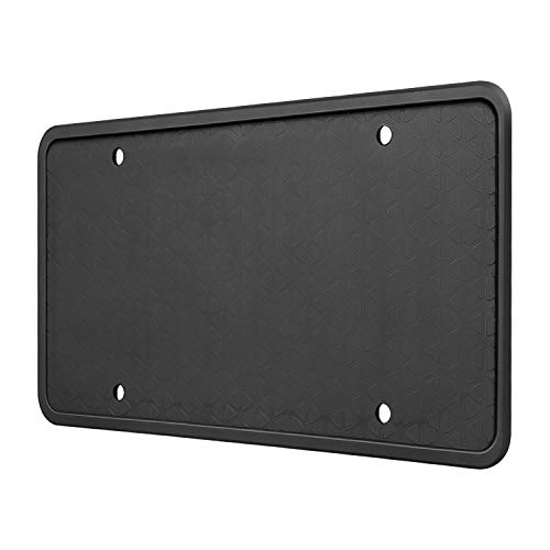 Qenker Silicone License Plate Frame - Universal U.S. License Plate Cover Holder - Rust-Proof. Rattle-Proof. Weather-Proof. - Black