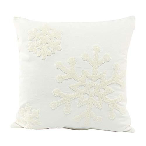 Wakauto Funda de Almohada de Copo de Nieve de 2 Piezas Bordada Funda de Almohada de Tiro de Navidad Decorativa Conchas de Cojín Cuadrado para Cama Sofá Decoración de Sofá