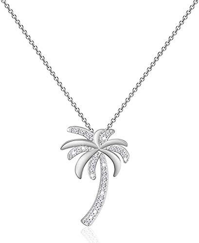 Collana con ciondolo a forma di palma tropicale con zirconia cubica, per spiaggia, matrimonio, damigella d'onore e Rame, colore: Collana con albero, cod. NA