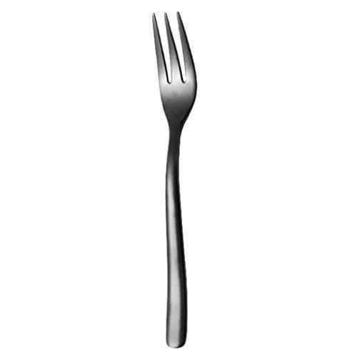 Stainless Steel Upscale Dinnerware Flatware Dessert Fork Luxury Cutlery Teaspoon (Black)