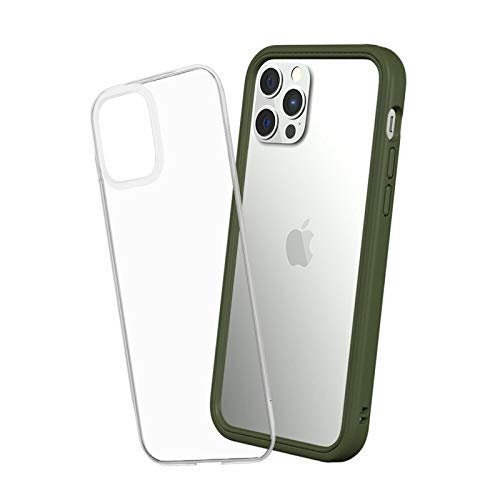 RhinoShield Modular Case Compatible with [iPhone 12/12 PRO] | MOD NX - Customizable Shock Absorbent Heavy Duty Protective Cover - Camo Green
