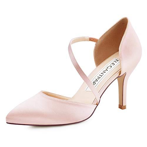 ElegantPark HC1711 Punta Estrecha de Las Mujeres Tacones de Aguja Zapatos de tacón Alto Correas Boda Fiesta de graduación Zapatos de Novia Blush EU 38