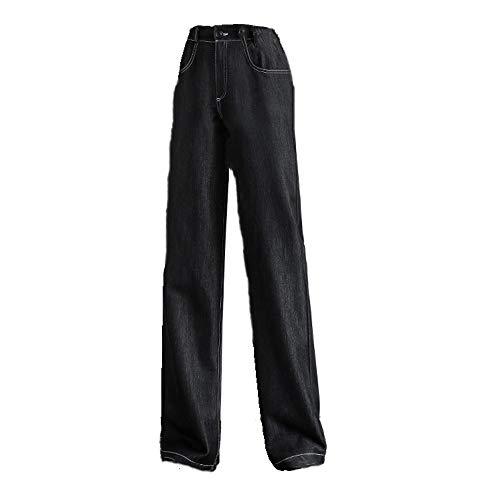 N\P Pantalones vaqueros de pierna ancha para mujer, pantalones de cintura alta para primavera y otoño con pierna recta Negro XXL