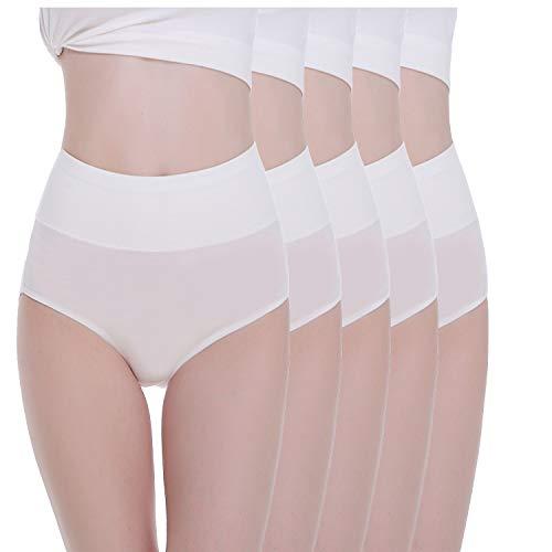 TUUHAW Braguita de Talle Alto Algodón para Mujer Pack de 5 Culotte Bragas de Cintura Alta Cómodo Talla Blanco XS
