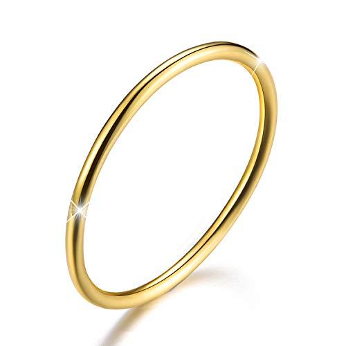 Anillo de plata de ley 925 chapado en oro de 18 quilates, ideal para el Día de la Madre, de estilo minimalista, sencillo, fino y apilable, talla 2-24