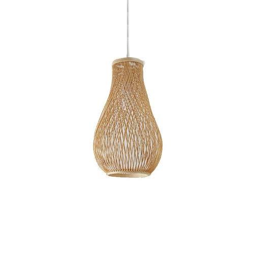 ZGZRXGY Simple estilo japonés bambú colgante iluminación sudeste asiático mimbre y ratán candelabros tejidos a mano de estilo rural de color natural de la luz de la luz de la cabeza de la cabeza del h