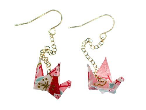 Kranich Ohrringe Origami Miniblings Vogel Kraniche Faltkunst Senbazuru Papier