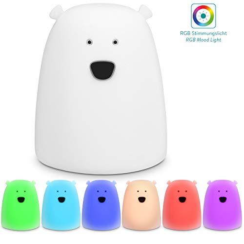 Navaris XS LED Nachtlicht Bär Design - mit Energiesparfunktion - Süße Farbwechsel Kinder Nachttischlampe - Schlummerlicht Nachtlampe in Weiß