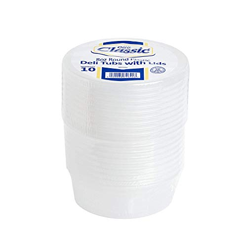 Euro Classic Frischhaltedosen mit Deckel, Kunststoff, rund, auslaufsicher, BPA frei, für Mikrowelle, Kühlschrank, und Gefrierschrank, recycelbar, waschbar und wiederverwendbar, 10Stück, 235ml (8oz)