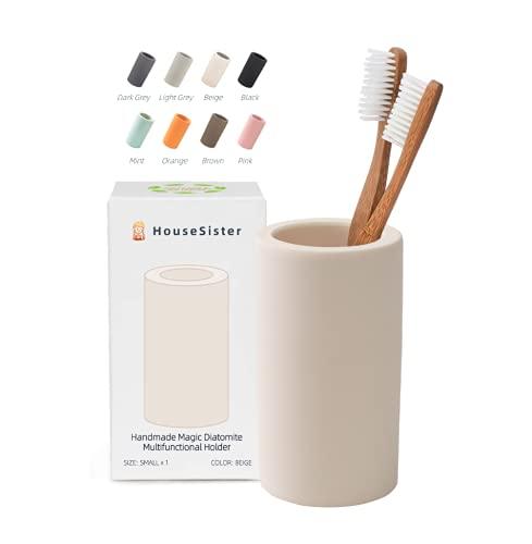 HouseSister Organic Diatomite Toothbrush Toothpaste Makeup Brushes Razors Holder Bathroom Countertop Organizer Stand Cup Organizer (Beige)