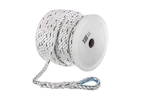 SEACHOICE 47731 Premium Anchor Rope for Boating - 3-Strand Twisted Nylon Anchor Line, ½-Inch x 100 Feet, White/Blue, One Size