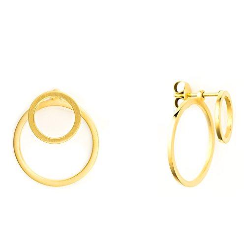 Heideman Ohrringe Damen Ewiger Kreis aus Edelstahl gold farbend matt runde Ohrstecker für Frauen 2 in 1 Ohrschmuck Doppelohrringe Doppel vorne und hinten
