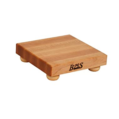 John Boos Square Maple Edge Grain Cutting Board with Feet, 9 Inches Square, 1.5 Inches Thick