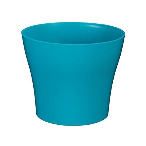 greemotion Pot de fleur rond 19cm Tulipan couleur bleu turquoise - Pot à fleurs élégant en plastique pour l'intérieur et l'extérieur - Pot de fleurs zen aux lignes modernes