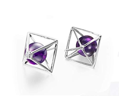 Amethyst earrings by Majade. February birthstone jewellery, amethyst stone purple earrings. Handmade solid 14k white gold earrings with amethyst and diamond. Violet 3D geometric pyramid stud earrings