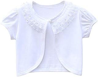 Girl Lace Bolero Cardigan Shrug - Toddler Little Girl Short Sleeve Lace Flower Shrug Sweater