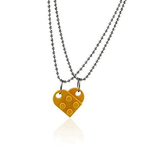 HALLTYG collarCollar con Forma de Colgante de corazón de ladrillo para Parejas para la Amistad, joyería de Dos Piezas Hecha con Lego Elements, Regalo de San Valentín