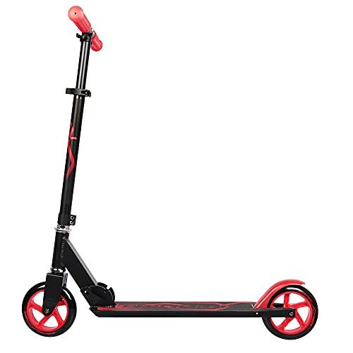 Patinete para niños y niñas, plegable, ABEC 7, ruedas de poliuretano de 145 mm de diámetro, color negro y rojo