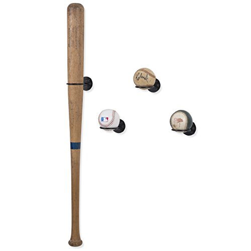 Wallniture Sporta Sports Memorabilia Baseball Bat Display and Ball Rack Holder Wall Mounted Display Rack Steel Black Set of 4