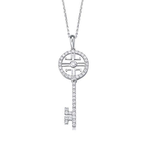 Aimsie Collar para mujer con forma de llave, oro blanco 750 de 18 quilates, con colgante de...