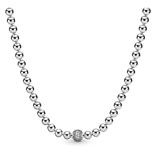 Pandora Jewelry Beads and Pave Cubic Zirconia Necklace in Sterling Silver, 17.7'