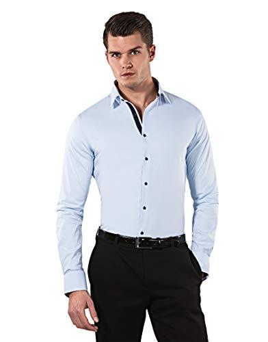 Vincenzo Boretti Herren-Hemd Body-Fit (besonders Slim-fit tailliert) Uni-Farben bügelleicht - Männer lang-arm Hemden für Anzug Krawatte Business Hochzeit Freizeit eisblau/dunkelblau 43/44