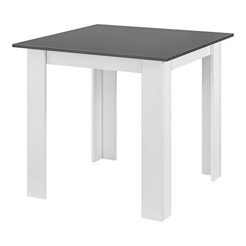 [en.casa] Tavolo da Pranzo con Piano Quadrato e Gambe a Forma di L 80 x 80 x 76cm Tavolo da Cucina in Design Moderno - Bianco/Grigio Scuro