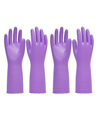PACIFIC PPE 2 Pairs Reusable Dishwashing Cleaning Gloves with Latex Free, Cotton Lining, Kitchen Gloves, Purple, Medium