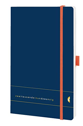 Chronoplan 50481 Buchkalender Kalendarium 2021, A5 Softcover, Wochenplaner (135x210mm, 1 Woche auf 2 Seiten), Elementary, Deep Ocean Blue