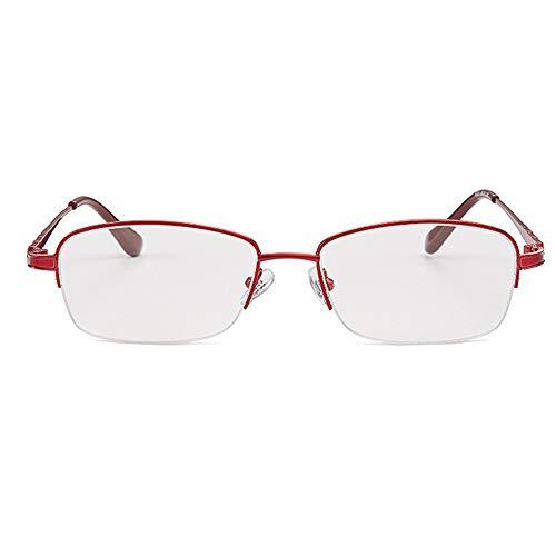 Gafas de lectura femeninas de moda, lentes de resina de medio marco de gama alta, gafas de lectura con luz azul claro, ultraligeras y convenientes sin dañar la nariz Rojo (+ 1.00- + 3.50)