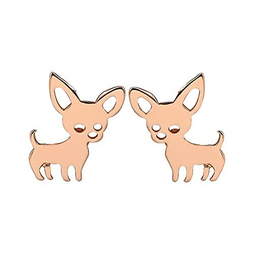 healthwen Pendientes con forma de cachorro de Chihuahua a la moda, Mini pendientes de asta bonitos, joyería personalizada para niñas, regalo de Navidad
