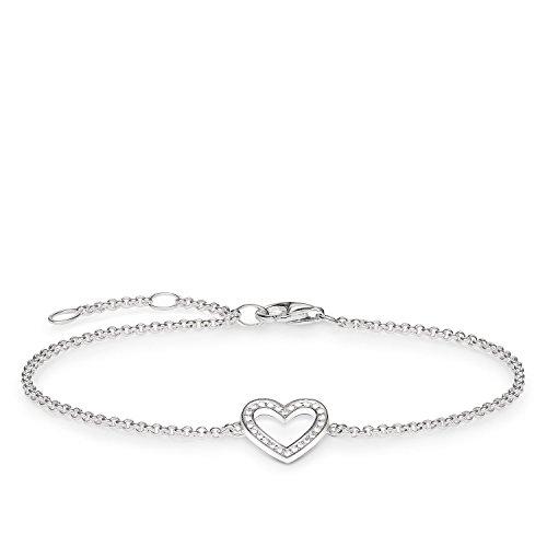 THOMAS SABO Damen-Armband Herz Zirkonia 925 Sterling Silber A1553-051-14-L19,5v