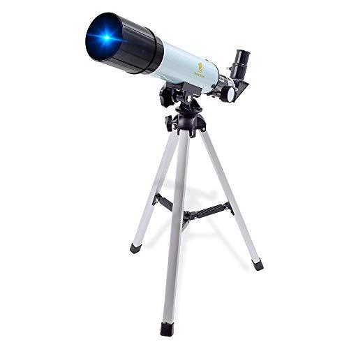 GEERTOP 90X Teleskop für Kinder und Einsteiger für Beobachtung von Himmel und Landschaft Linsenteleskop Einstiegslevel Refraktorteleskop