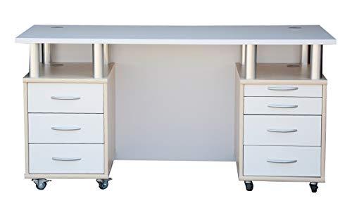 Dila GmbH Ladeneinrichtung Rollbare Verkaufstheke T547 Ladentisch Empfangstresen Rezeption Bürotheke aus Holz Weiß/Ahorn B 160 x 81 x 65 cm - Artikelnr. 98547
