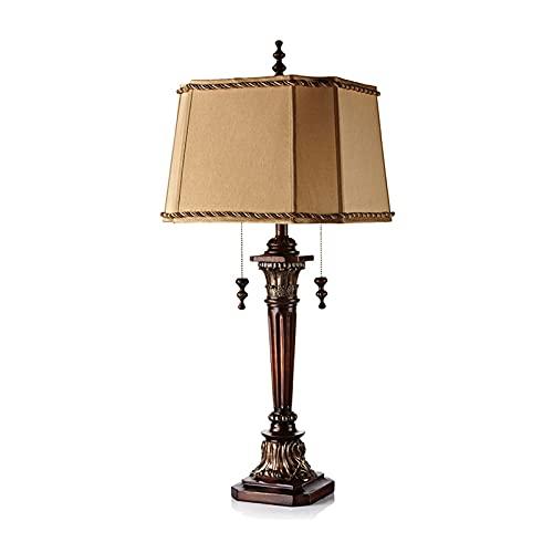 Lámpara de mesita de noche Lámpara de noche Retro Lámpara de cama Lámpara de escritorio de tela con enchufe de interruptor de cadena de plomo para dormitorios, sala de estar, mesa de comedor, oficina
