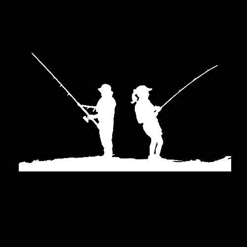 Autocollant De Voiture 15 CM * 8.4 CM Homme Femmes Scène De Pêche Drôle Vinyle De Haute Qualité Décor Stickers Autocollant De Voiture Noir Argent